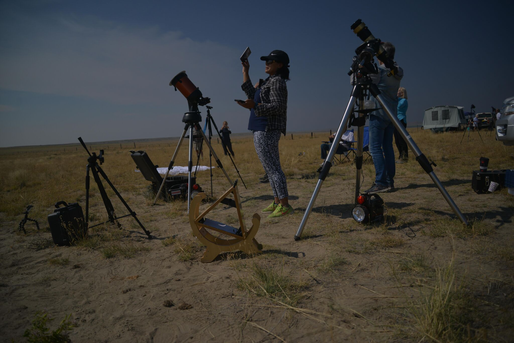 Shovit's setup in darkness in Shoshoni near full eclipse