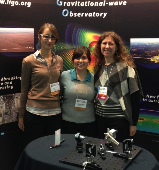 Cinthia and Gaby with Gabriela Gonzalez, the LIGO Collaboration spokesperson