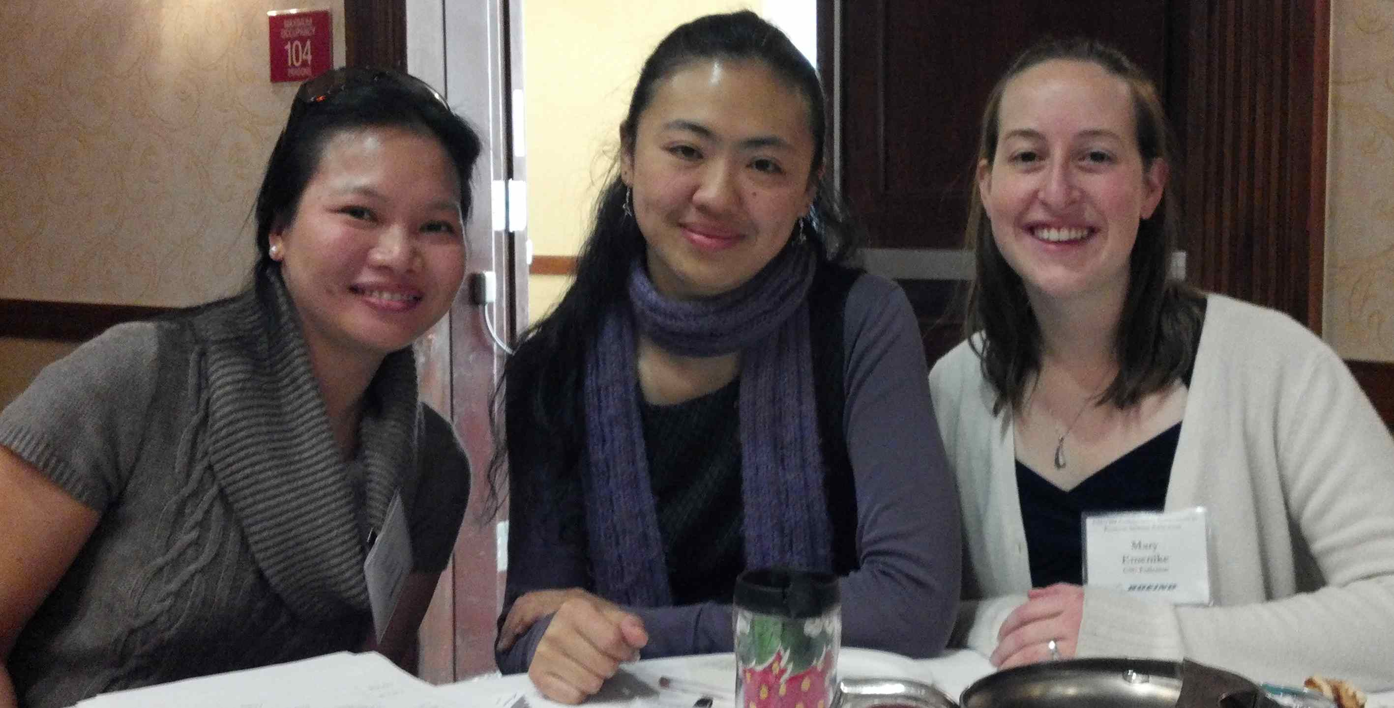 left to right: Professor Natalie Tran, Sissi, and Mary