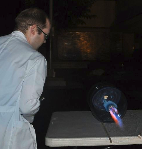 Thomas firing our Sparklett Bottle rocket at Steve Luther Elementary School