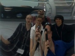 Thomas, Jocelyn, Fabian (middle row) having fun with a concave mirror at MIT